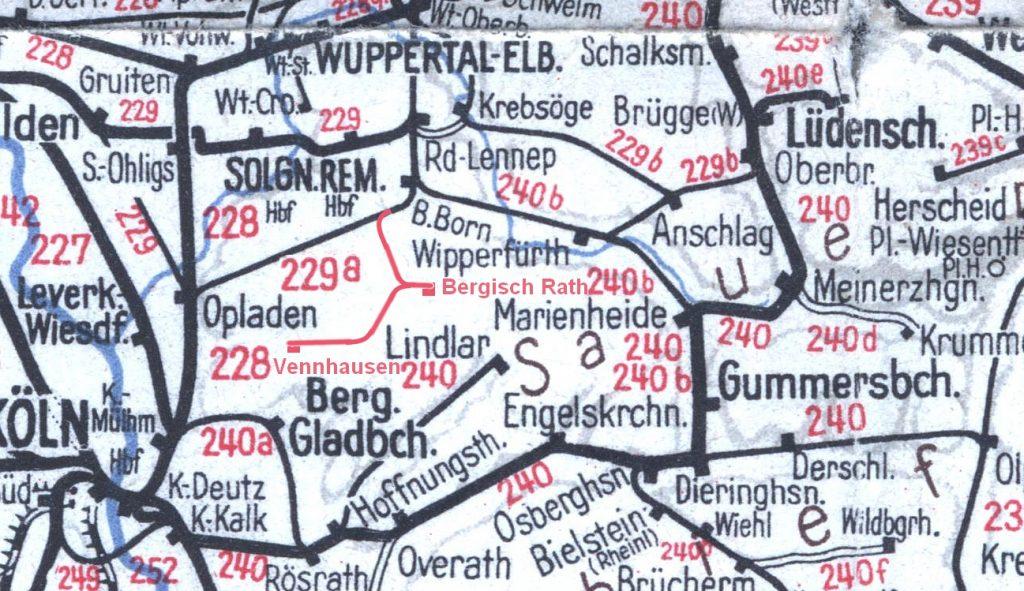 Streckenkarte Bergisches Land