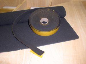 3 mm Zellkautschuk als Matte und als Streifen